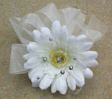 White Daisy & Silver Pearl Wrist Corsage, Flowers, Prom, Dance All colour ribbon