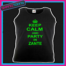KEEP CALM AND PARTY IN ZANTE HOLIDAY CLUBBING UNISEX VEST TOP