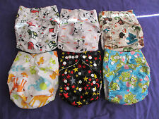 Lot of 6 New Unisex Tagless ALVA Cloth Pocket Diapers With Double Gussets