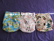 Lot of 3 New Unisex Tagless ALVA Cloth Pocket Diapers With Double Gussets