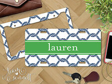 """""""Rope"""" Nautical Personalized Monogrammed Aluminum Vanity License Plate & Frame"""