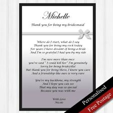 Bridesmaid Gift. Personalised Thank You Gift for Bridesmaid. Unique Poem. Bow