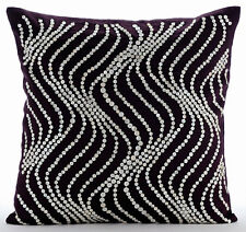 Purple Velvet 65x65 cm Sparkly Spiral Euro Cushion Shams - Purple Pearl Waves