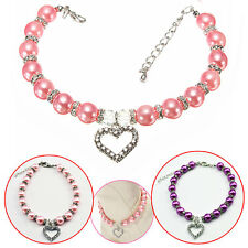 New Collar Pet Dog Cat Puppy Pearl Jewelry Identity Necklace Pendant Heart