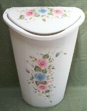 HAND PAINTED ROSES TRASH CAN/LAUNDRY HAMPER/PINK/BLUE
