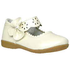 Girls Scalloped Mary Jane Casual Comfort Patent Ballet Flats Ivory