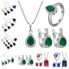 Precious Ruby Sapphire Emerald 925 Silver Pendant+Earring+Ring Jewelry Set New
