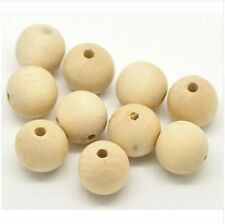 50pcs Round Wood Beads Natural Spacer Wooden Ball DIY Bracelet Necklace 8 Sizes