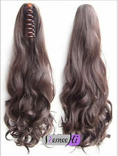 Long wavy 100% human hair claw clip 100% real hair ponytail body wave extension