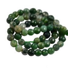 """6mm/8mm Green Grass Moss Agate Faceted Round Spacer Beads 15"""" For Jewelry Making"""