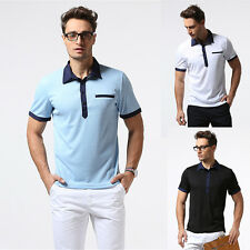 New Casual Mens V Neck T-Shirt Classic Pullover Fit Short Sleeve Tee Slim Tops G