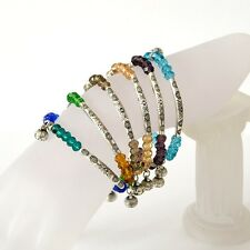 Crystal Beads Stretch Bracelets with Tibetan Silver Charms