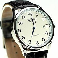 New Classic Automatic Watch Date Sport Leather Band Mens Mechanical Analog Wrist