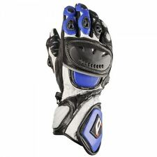 Akito Sport Max Leather Motorcycle Gloves Blue White Hard Kuckle Bike Glove New