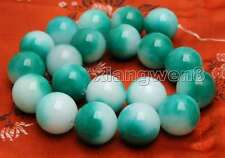20mm white & Geeen Round High Quality Natural jade Loose Beads strand 15''-746