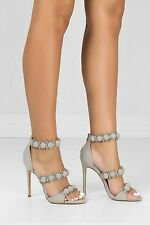 Cut Out Open Toe Stiletto High Heel Peep Toe Ankle Booties  - Tisha - Grey