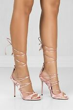 Lace Up Stiletto Open Peep Toe High Heels Summer - Blush Satin