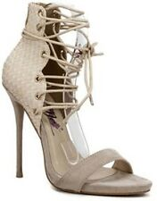Janelle - Nude Cut Out Open Toe Stiletto High Heel Peep Toe Ankle Booties