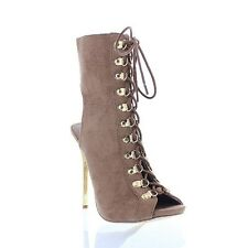 Cut Out Open Toe Stiletto High Heel Peep Toe Ankle Booties Addict - Light Taupe