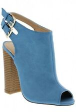 Cut Out Open Toe Stiletto High Heel Peep Toe Ankle Booties Sage - Blue