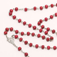 Religious Jewelry Wooden Rosary Beads Metal Cross Pendant Necklace/Bracelet