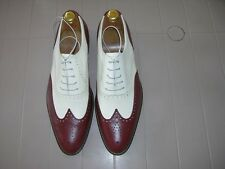 LU5003 Two-tone  Burgundy/Cream lace up calf leather men dress shoes