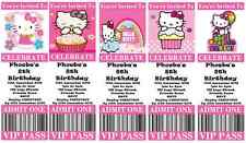 HELLO KITTY Personalised Ticket Style Birthday Invitations