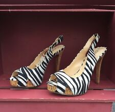 Guess Zebra Print Peeptoe Stiletto Pumps Heels Size 6