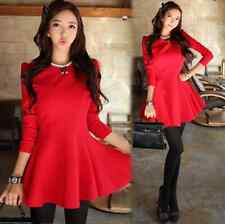 Fashion Womens Spring Autumn Sweet Korean Style Long Sleeve Slimming Mini Dress