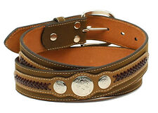 Nocona Western Mens Belt Top Hand Scalloped Overlay Concho Brown N2476502
