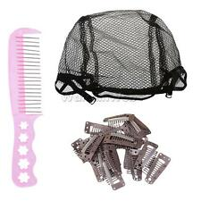 Black Invisible Stretch Breathable Wigs Cap Styling Comb Wig Teeth Snap Clip Set