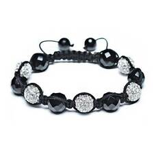 Bling Jewelry Simulated Onyx and Crystal Shamballa Inspired Bracelet 12mm