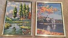 """Pair Of Needlepoint Pictures 17""""x13"""" Each Sea & Landscapes Handcrafted"""