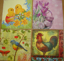 4sets paper napkins,Easter chickens,eggs,bird,cock,flowers,33cm-2pcs,decoupage