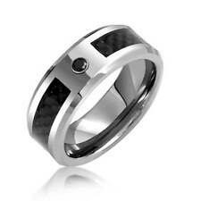 Bling Jewelry Mens Black Tungsten Wedding Band Ring Carbon Fiber Inlay 8mm