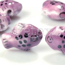10pcs Chinese Hand Painted Porcelain Ceramic Spacer Loose Beads Animal Pendants