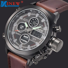 Mens LED Military Quartz Sport Army Watches Analog Stainless Steel Wrist Watch