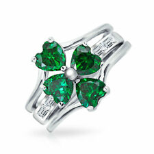 Bling Jewelry Simulated Emerald CZ Four Leaf Clover Sterling Silver Ring Set