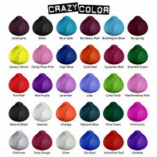 CRAZY COLOR SEMI PERMANENT HAIR DYE 100ml -All colours-Free UK Postage-Pack Of 4