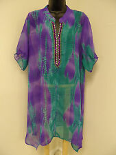 Plus Size 1X 2X 3X 4X  Top SHEER Cover-Up Cruise EMBELLISHED Tunic Beach NWT