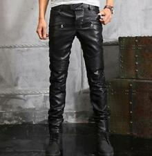Punk Sexy Mens Leather Punk Rock Motorcycle Slim Fit Pant Military Trousers Size