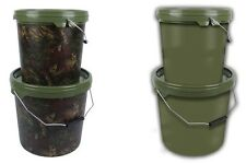 2 x GARDNER PLASTIC ROUND BUCKETS IDEAL FOR BAIT GREEN OR CAMO FOR CARP FISHING