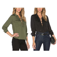 Women Lady V-neck T-Shirt Casual Blouse Plus Size Tops Loose Long Sleeve Fashion