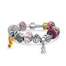 Bling Jewelry Pink Ribbon Breast Cancer Awareness Glass CZ Bead Bracelet 925