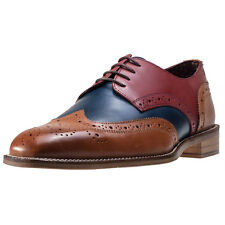 London Brogues Curtis Derby Mens Shoes Navy Tan New Shoes