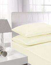 Percale Fitted Sheet, Cream, Poly cotton, Easy Care, Non Iron 180 TC