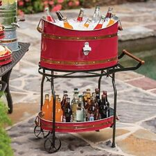 Copper Band Beverage Tub with Rolling Stand Red or Galvanized Metal Party Bucket