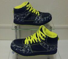 Op Mid-Top Athletic Big Boys Black & Lime Green Skull Head Sneakers size 6 Youth