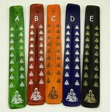 Coloured Wooden Ashcatcher With Large And Small Buddha For Incense Sticks (B100)