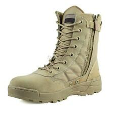 Men Side Zip Suede Leather Combat Work Outdoor Ankle Tactical Desert Khaki Boots